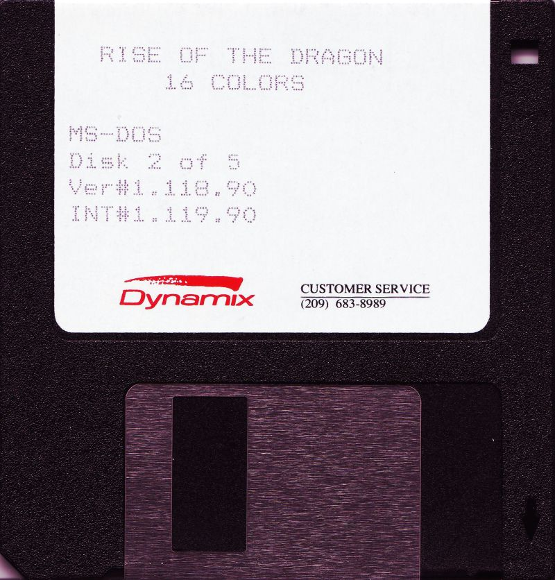 "Rise of the Dragon DOS Media 3.5"" Disk 2/5"