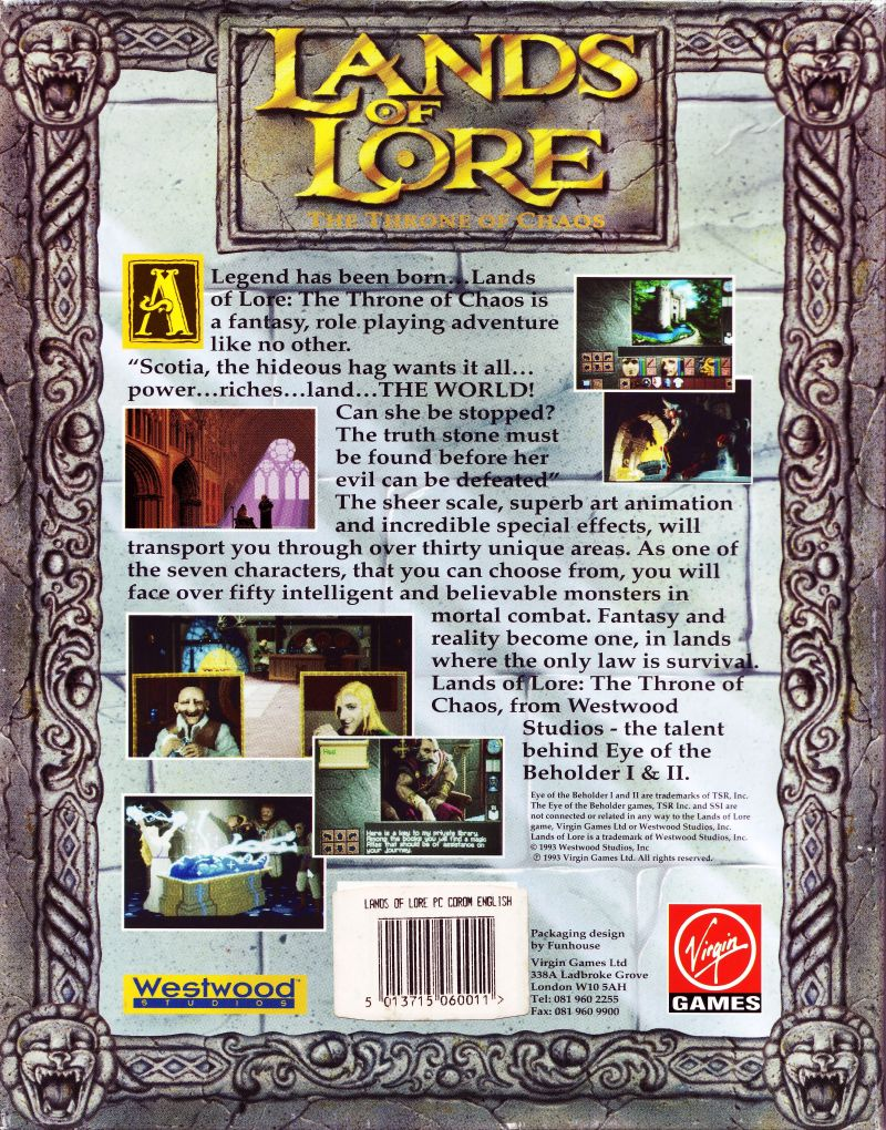 Lands of Lore: The Throne of Chaos DOS Back Cover