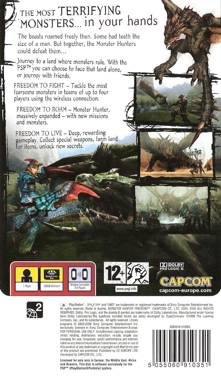 Monster Hunter: Freedom PSP Back Cover