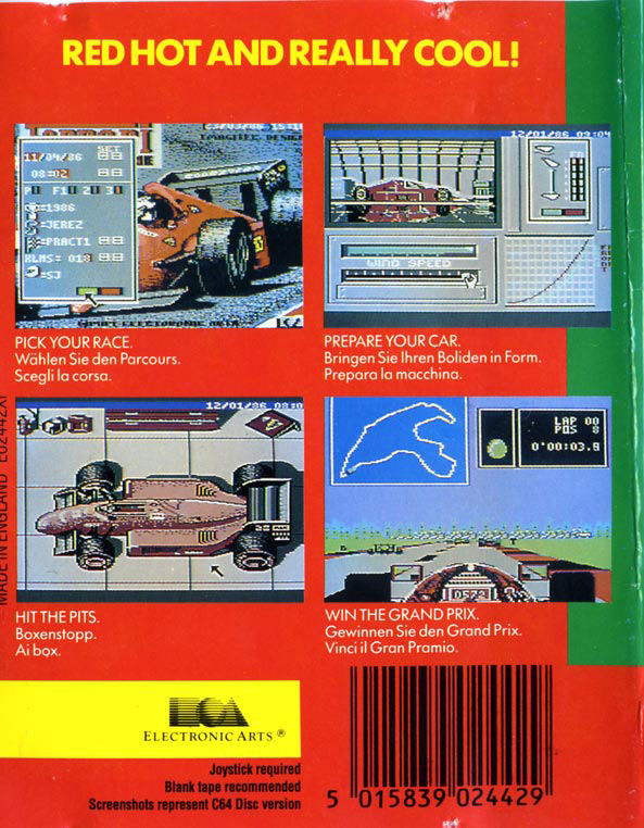 Ferrari Formula One Commodore 64 Back Cover