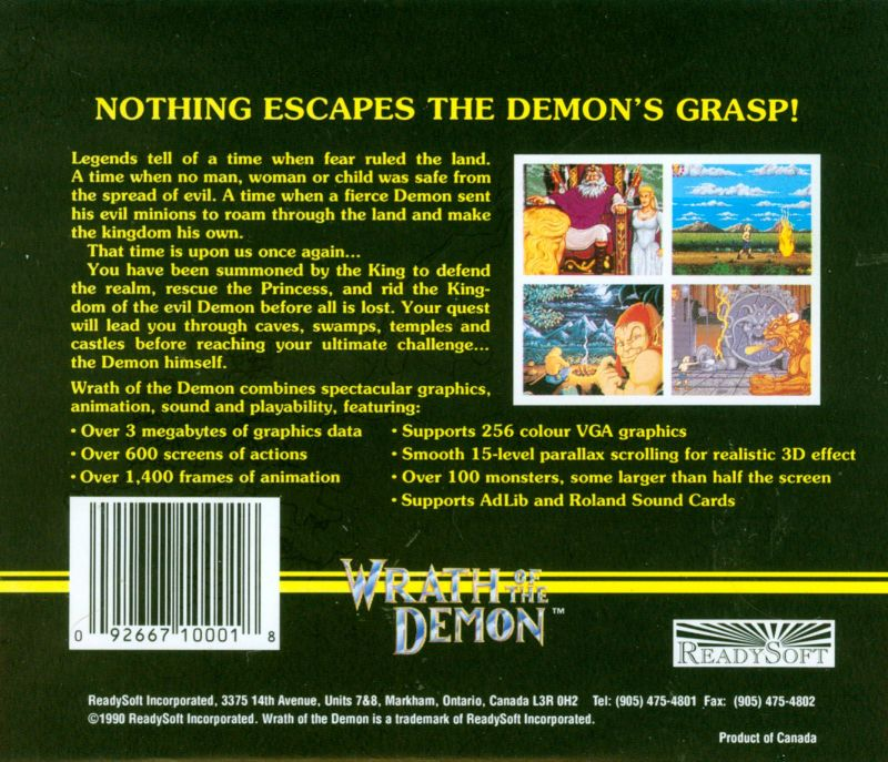 Wrath of the Demon DOS Back Cover