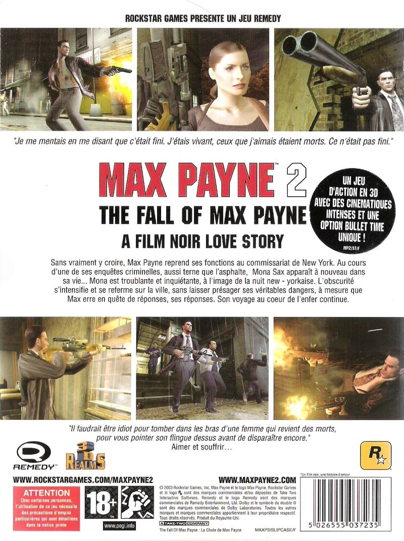 Max Payne 2: The Fall of Max Payne Windows Back Cover