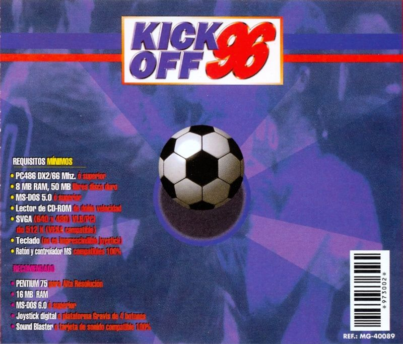 Kick Off 96 DOS Back Cover