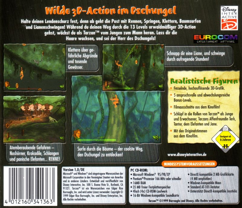 Disney's Tarzan Windows Back Cover