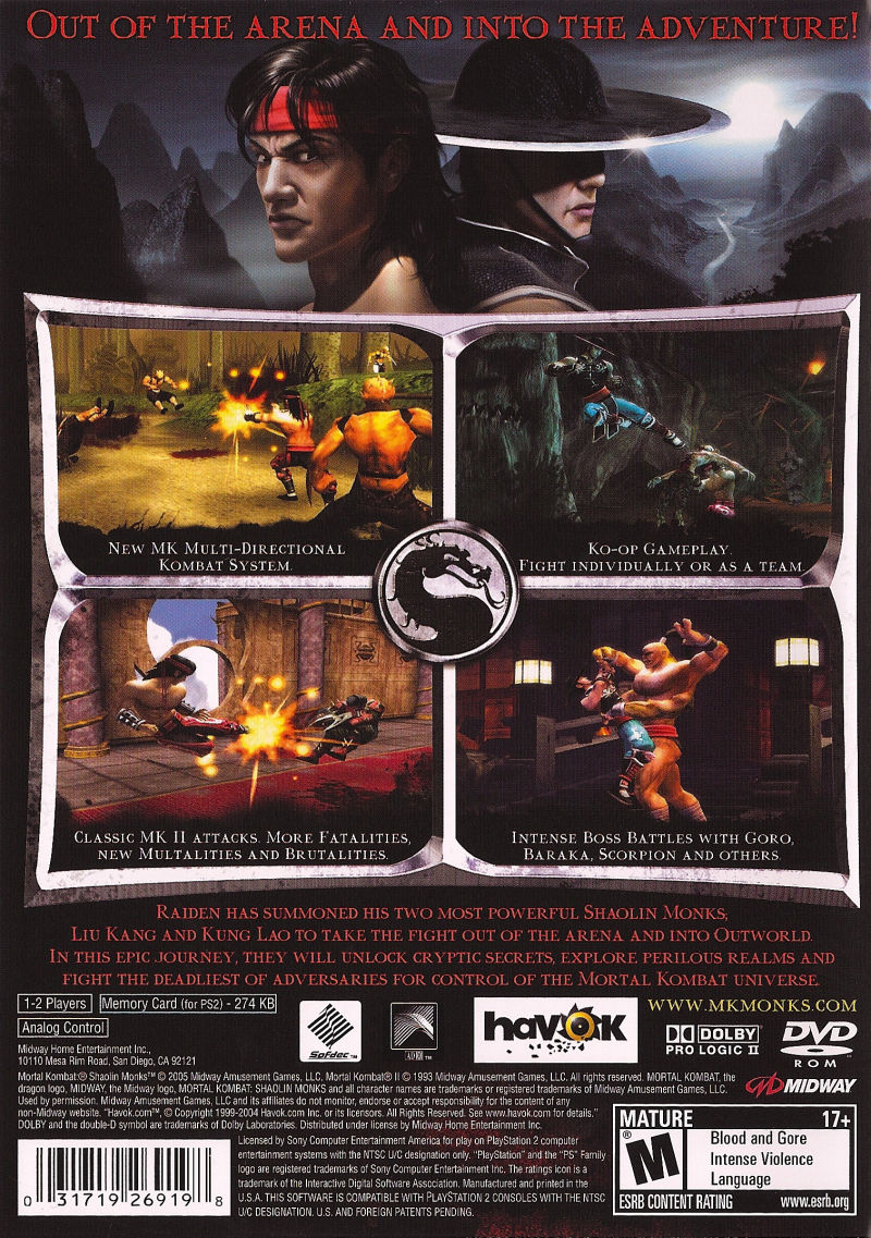 mortal kombat: shaolin monks (2005) playstation 2 box cover art