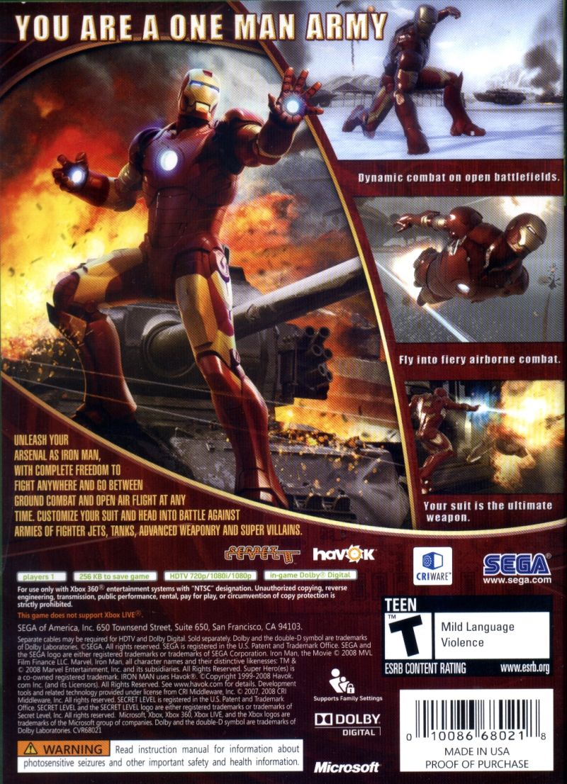 Iron Man (2008) PlayStation 3 box cover art - MobyGames Xbox 360 Game Cover Size