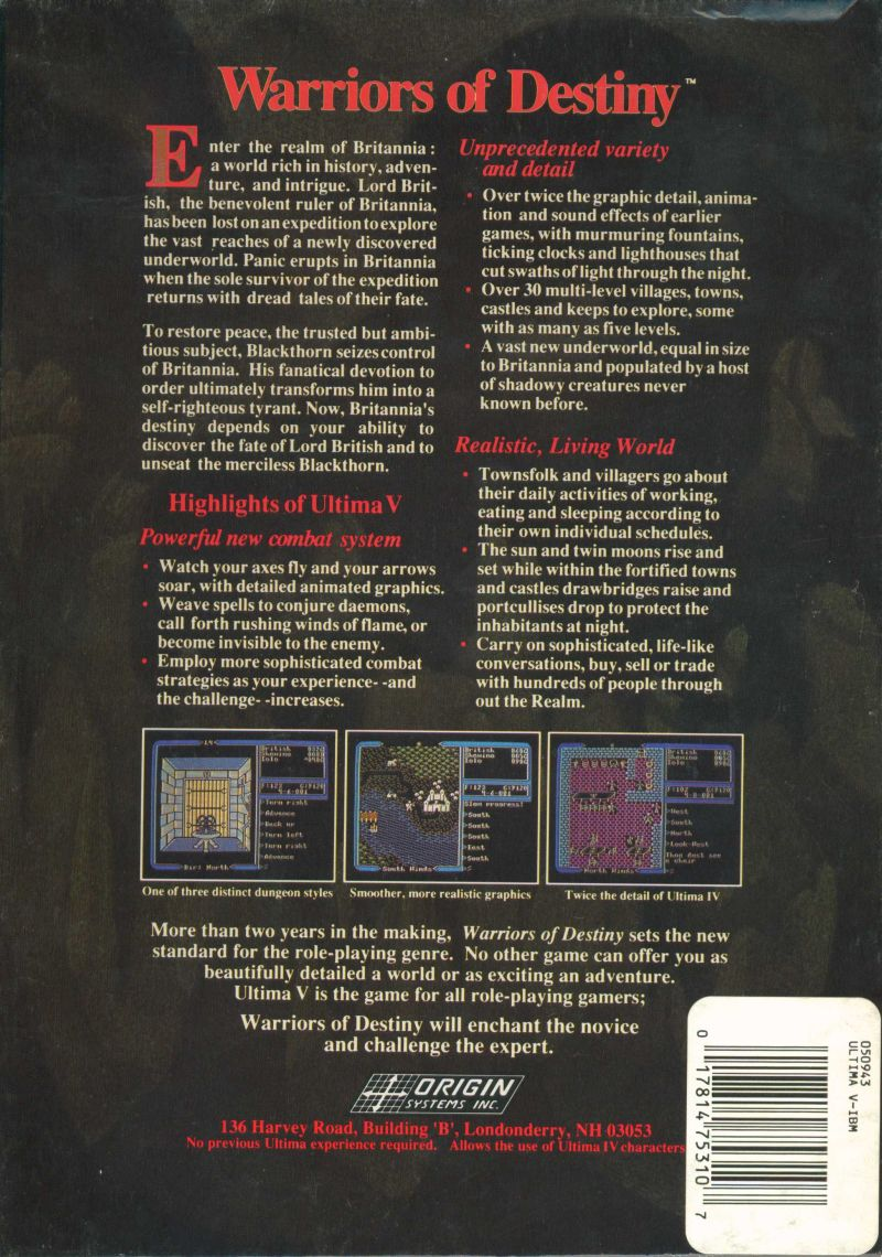 Ultima V: Warriors of Destiny DOS Back Cover