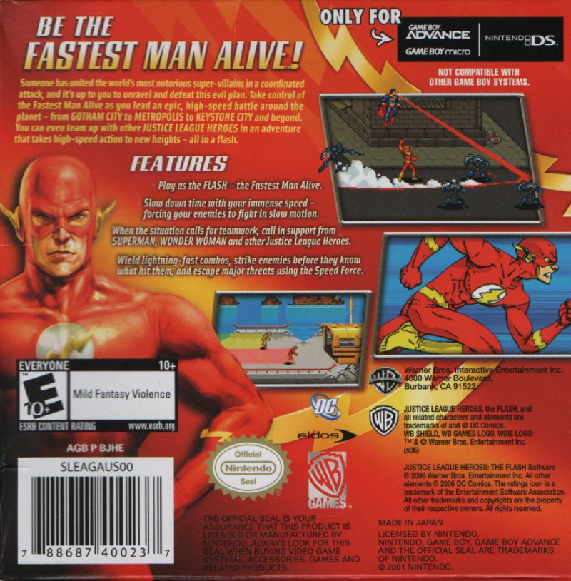 Justice League Heroes: The Flash Game Boy Advance Back Cover