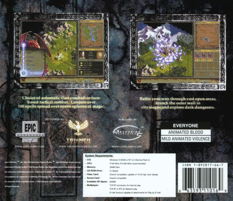 Age of Wonders Windows Back Cover