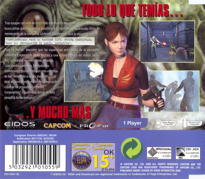 Resident Evil: Code: Veronica Dreamcast Back Cover