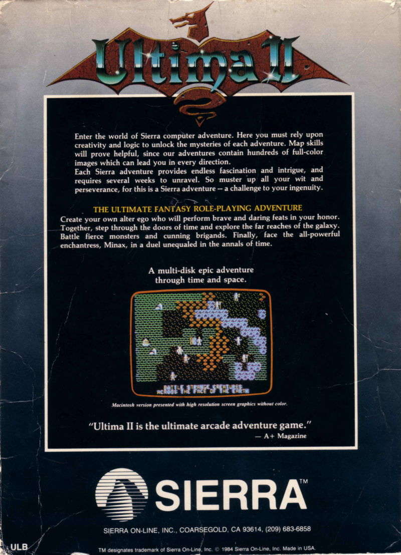 Ultima II: The Revenge of the Enchantress... DOS Back Cover