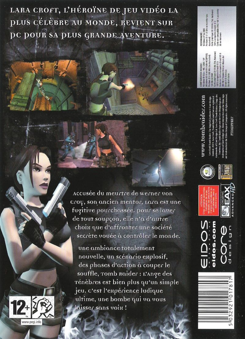 Lara Croft: Tomb Raider - The Angel of Darkness Windows Back Cover