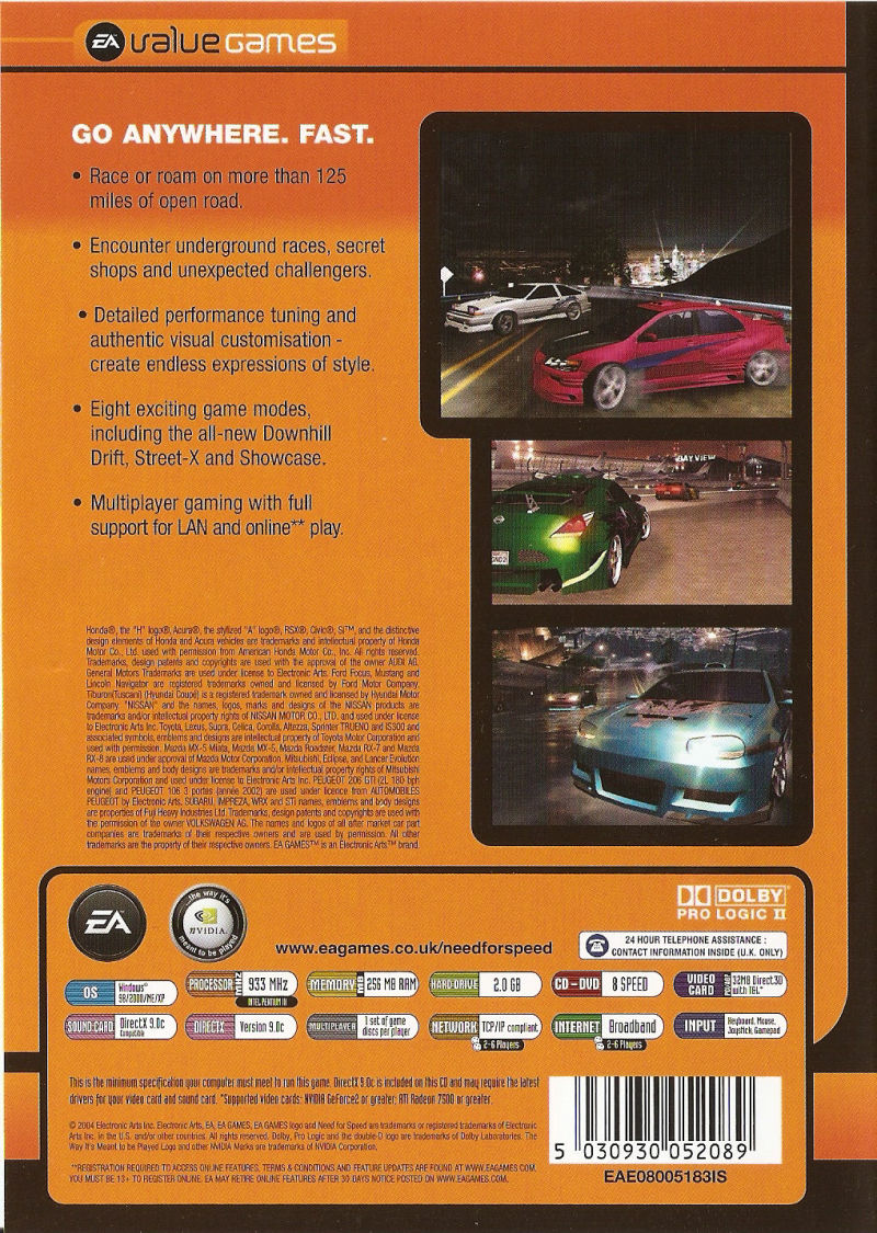 Need for Speed: Underground 2 Windows Back Cover
