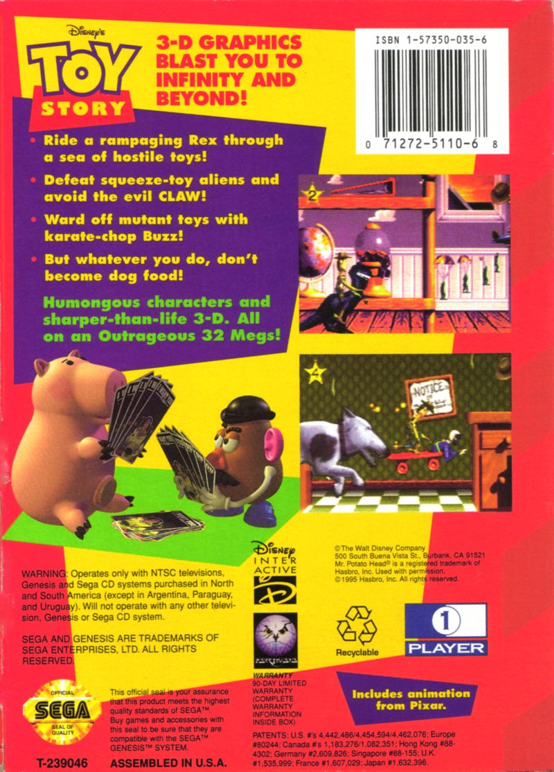 Disney's Toy Story Genesis Back Cover