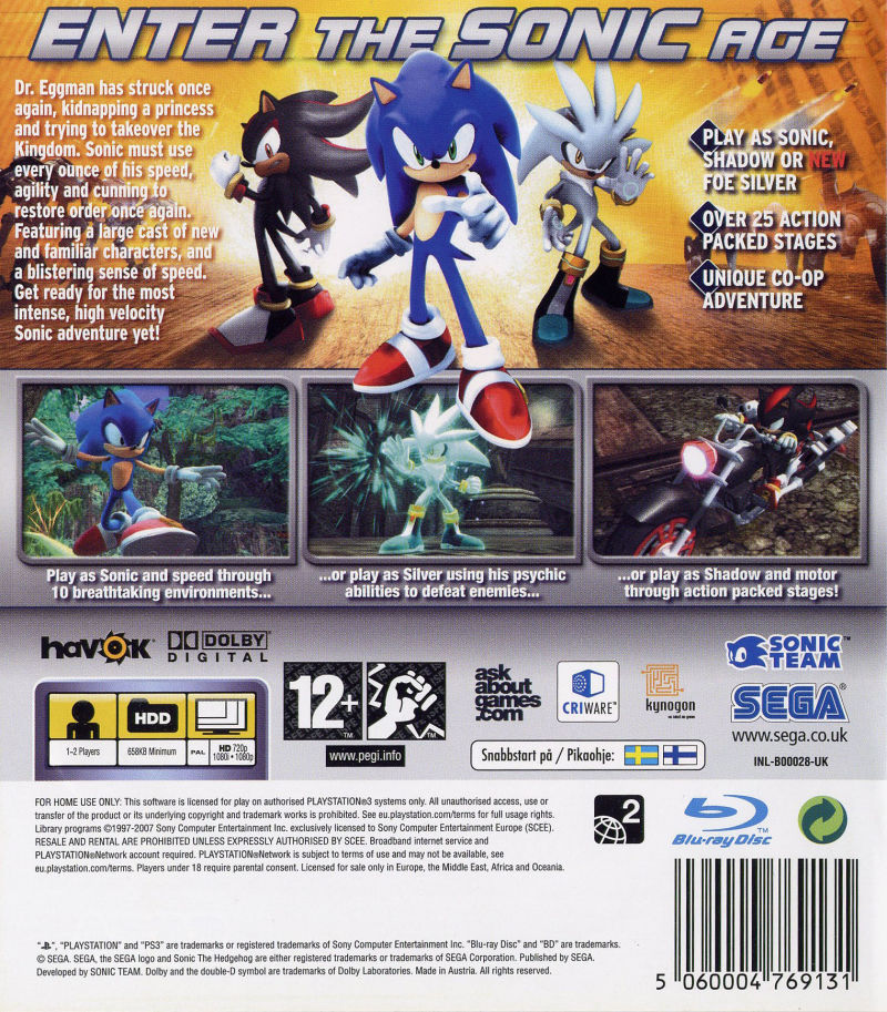Sonic the Hedgehog (2006) PlayStation 3 box cover art