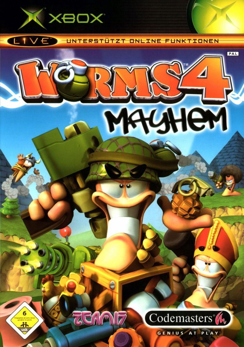 Worms 4: Mayhem Xbox Front Cover