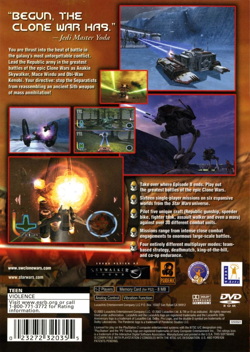 Star Wars: The Clone Wars PlayStation 2 Back Cover