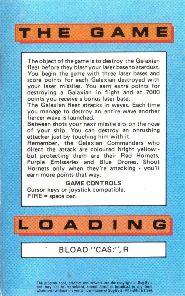Galaxian MSX Inside Cover