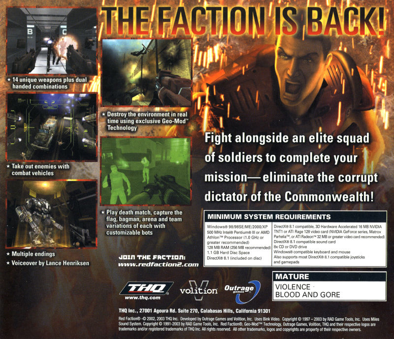 Red Faction II Windows Other Jewel Case - Back