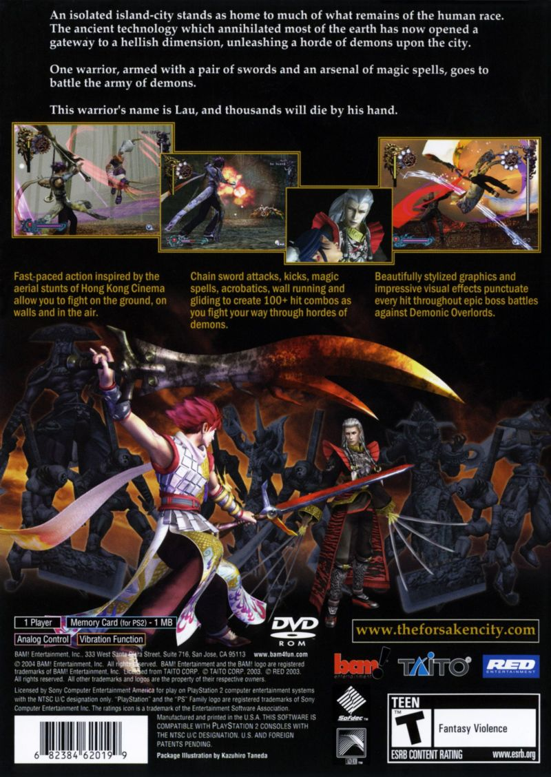 Bujingai: The Forsaken City PlayStation 2 Back Cover