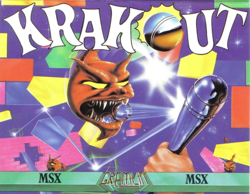 Krakout MSX Front Cover rotated 90 degrees