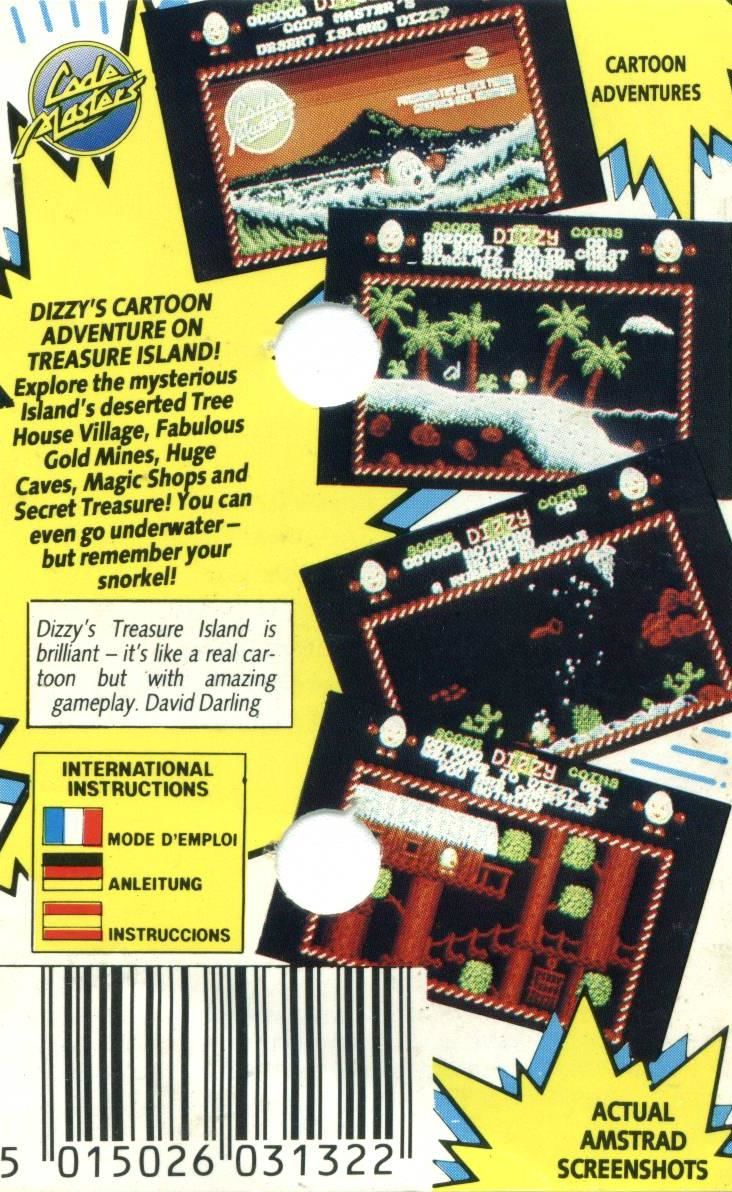 Treasure Island Dizzy Amstrad CPC Back Cover