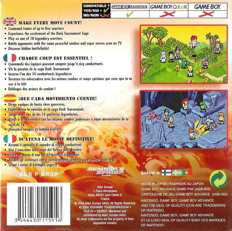 Yu Yu Hakusho: Ghost Files - Tournament Tactics Game Boy Advance Back Cover