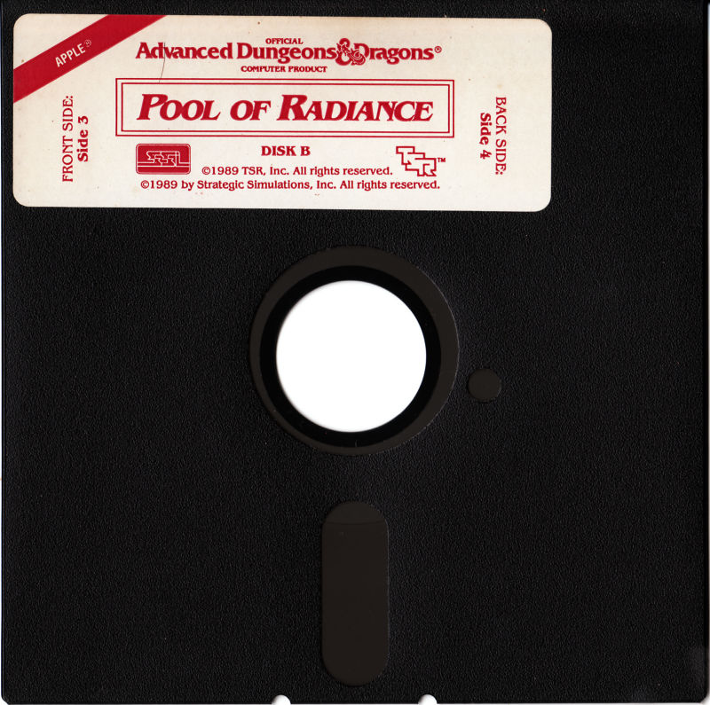 Pool of Radiance Apple II Media Disk B - Side 3 and 4