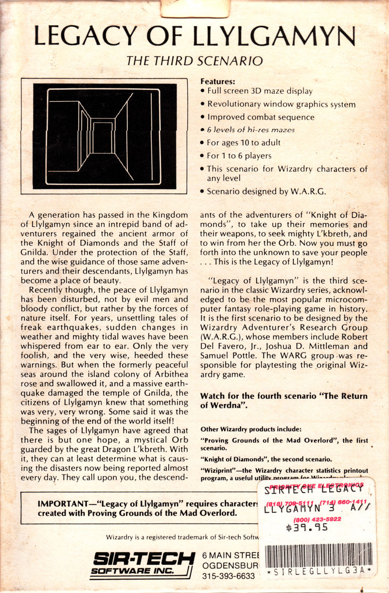Wizardry: Legacy of Llylgamyn - The Third Scenario Apple II Back Cover