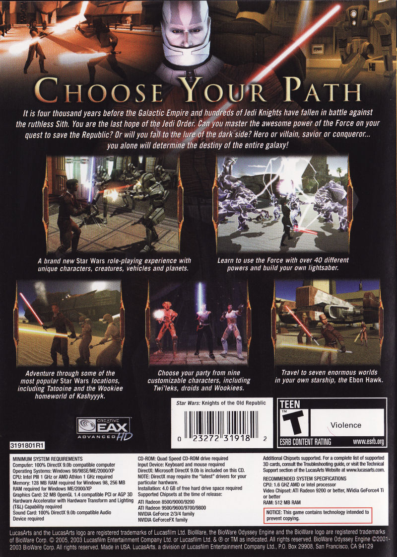 Star Wars: Knights of the Old Republic Windows Back Cover