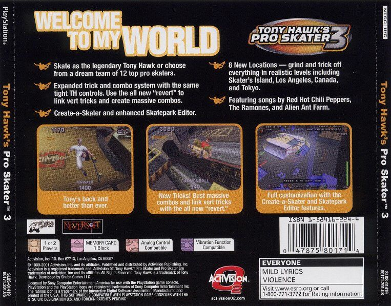 Tony Hawk's Pro Skater 3 PlayStation Back Cover