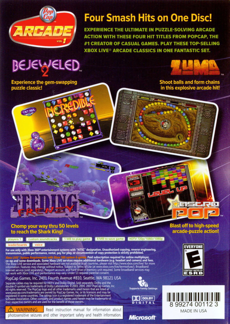 PopCap Arcade Vol 1 Xbox 360 Back Cover