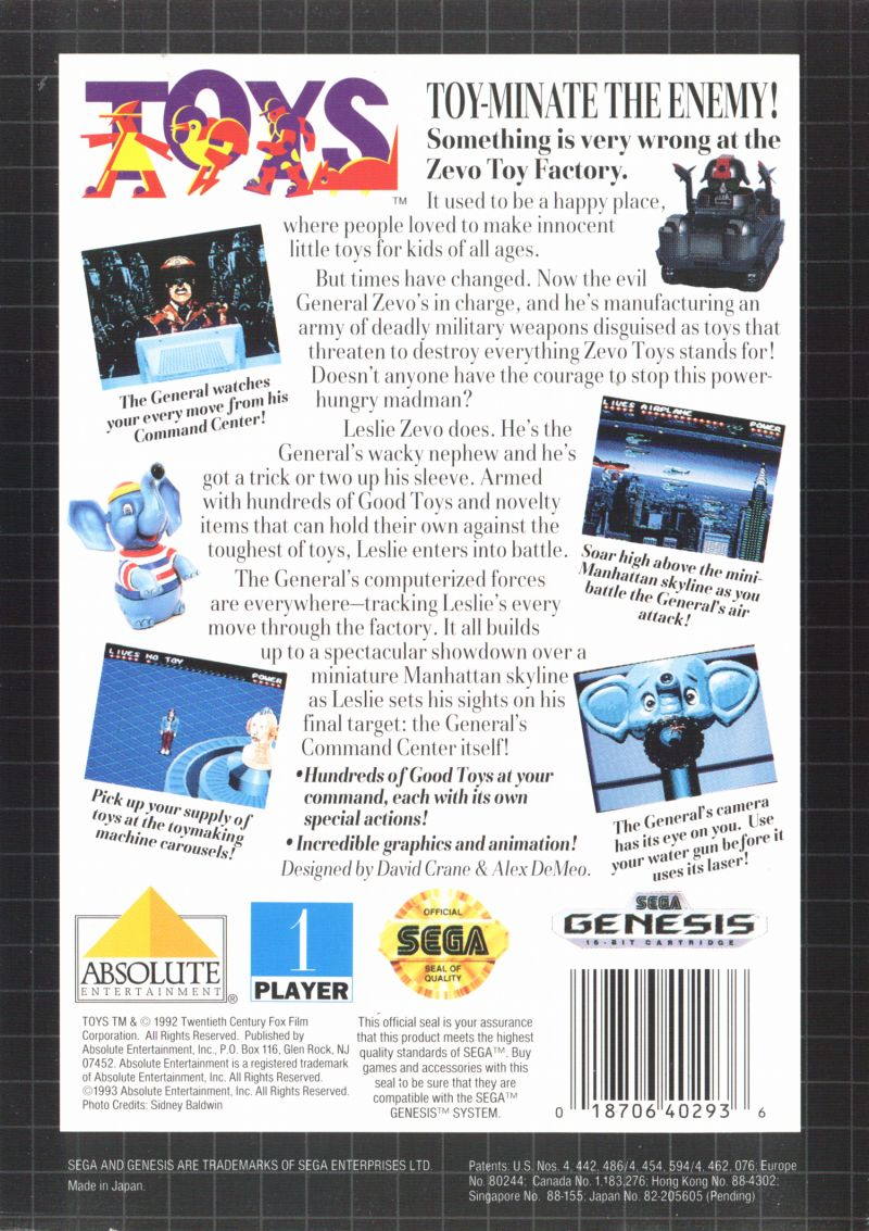 Toys Genesis Back Cover