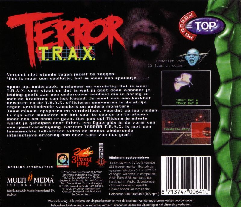 Terror T.R.A.X.: Track of the Vampire Windows 3.x Back Cover