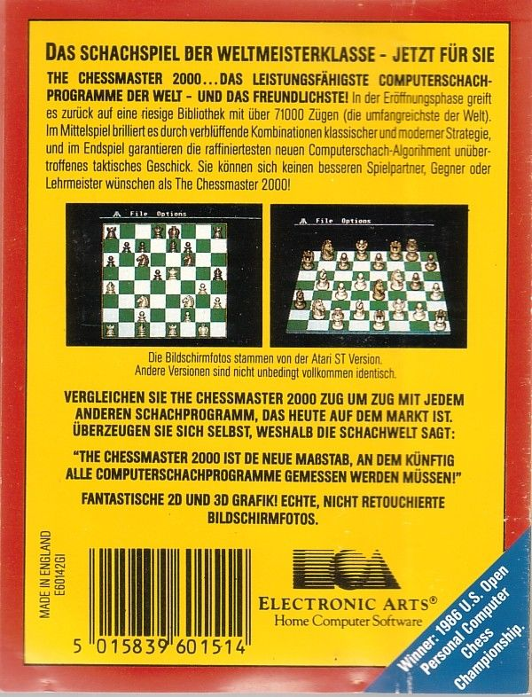 The Chessmaster 2000 Commodore 64 Back Cover