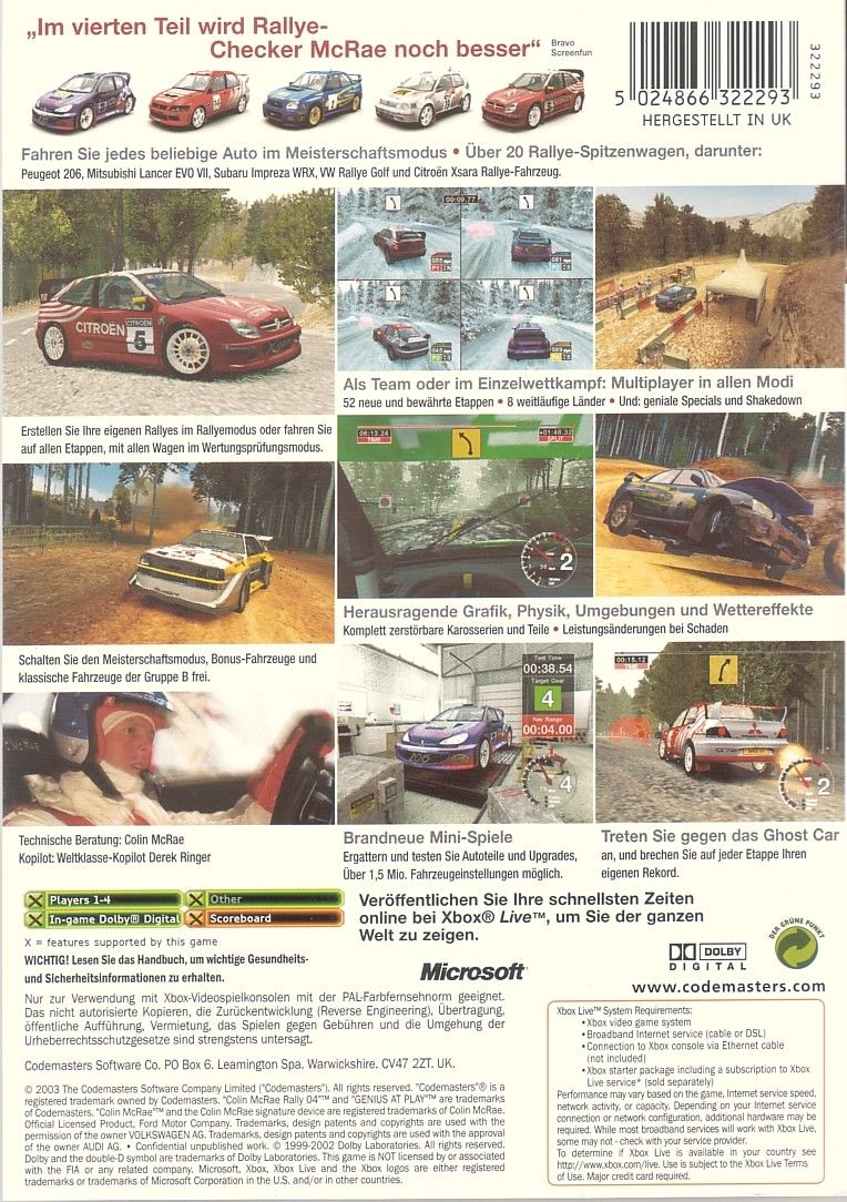 Colin McRae Rally 04 Xbox Back Cover