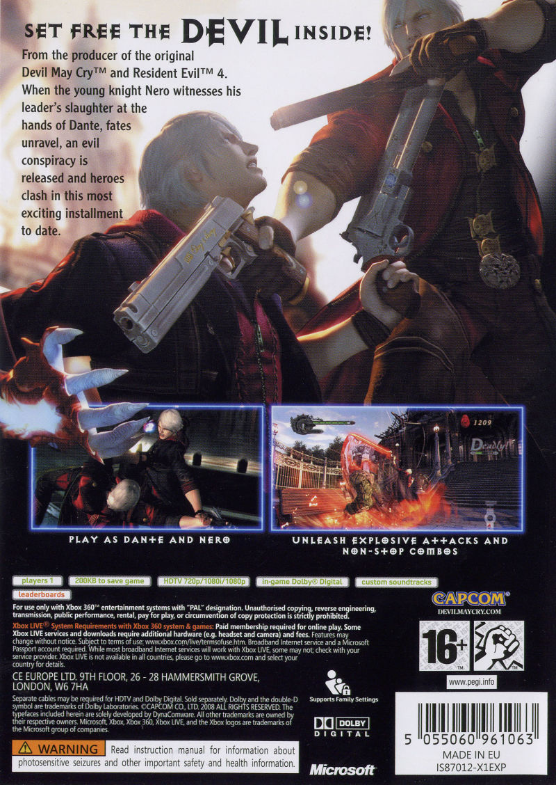 Devil May Cry 4 Xbox 360 Back Cover