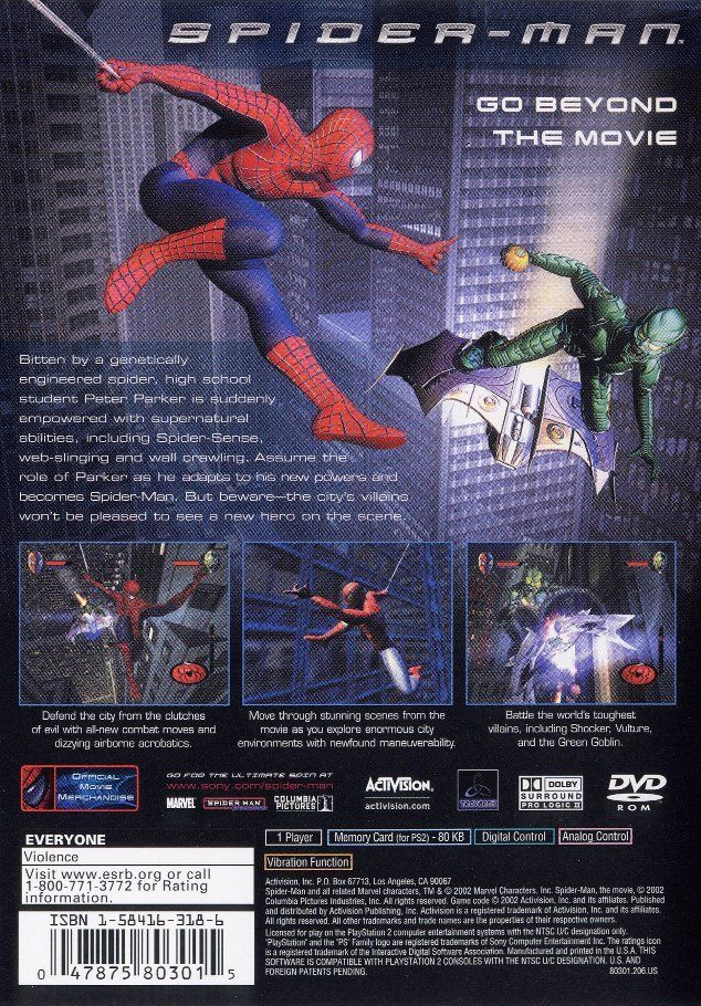 spider-man  2002  playstation 2 box cover art