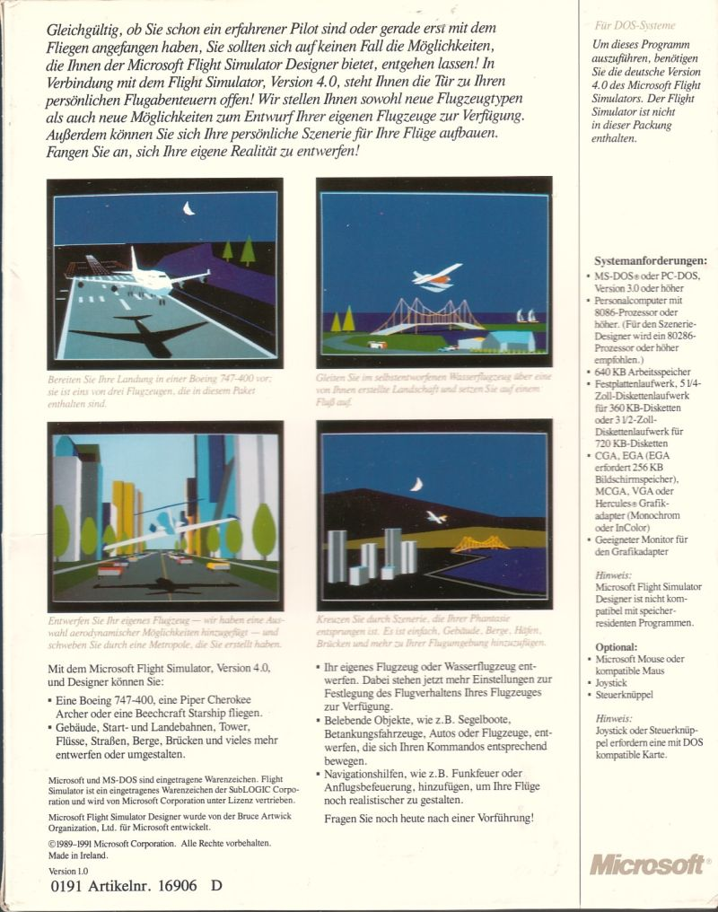 Microsoft Flight Simulator: Aircraft & Scenery Designer DOS Back Cover