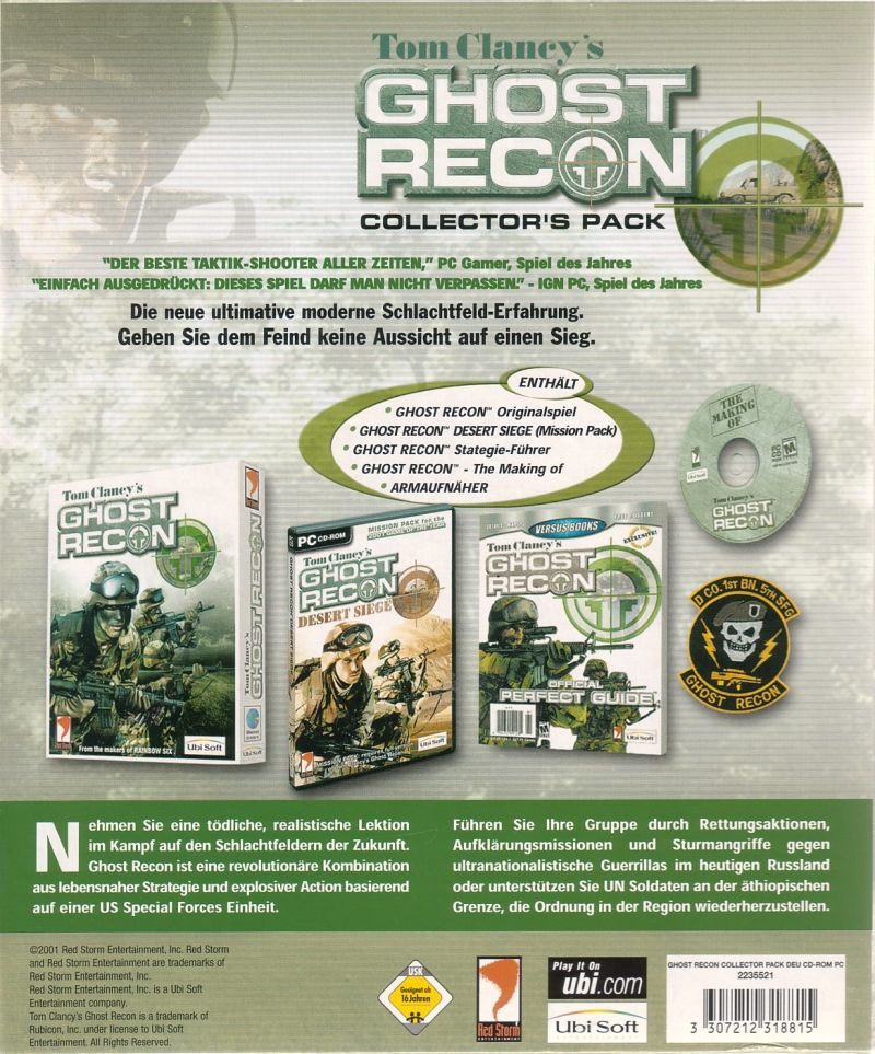 Tom Clancy's Ghost Recon (Collector's Pack) Windows Back Cover