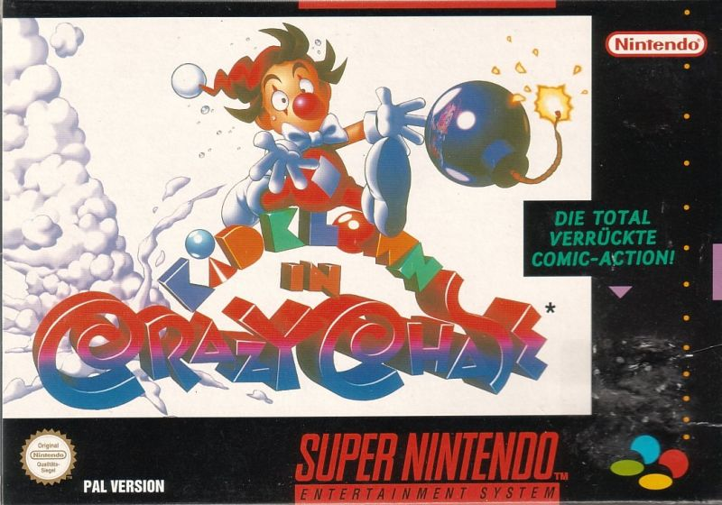 Kid Klown in Crazy Chase SNES Front Cover