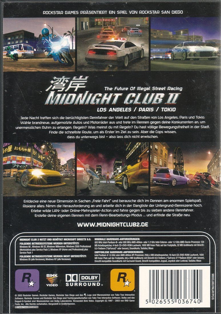 Midnight Club II Windows Back Cover