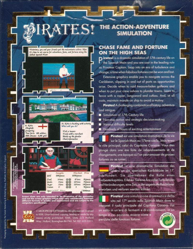 Sid Meier's Pirates! DOS Back Cover
