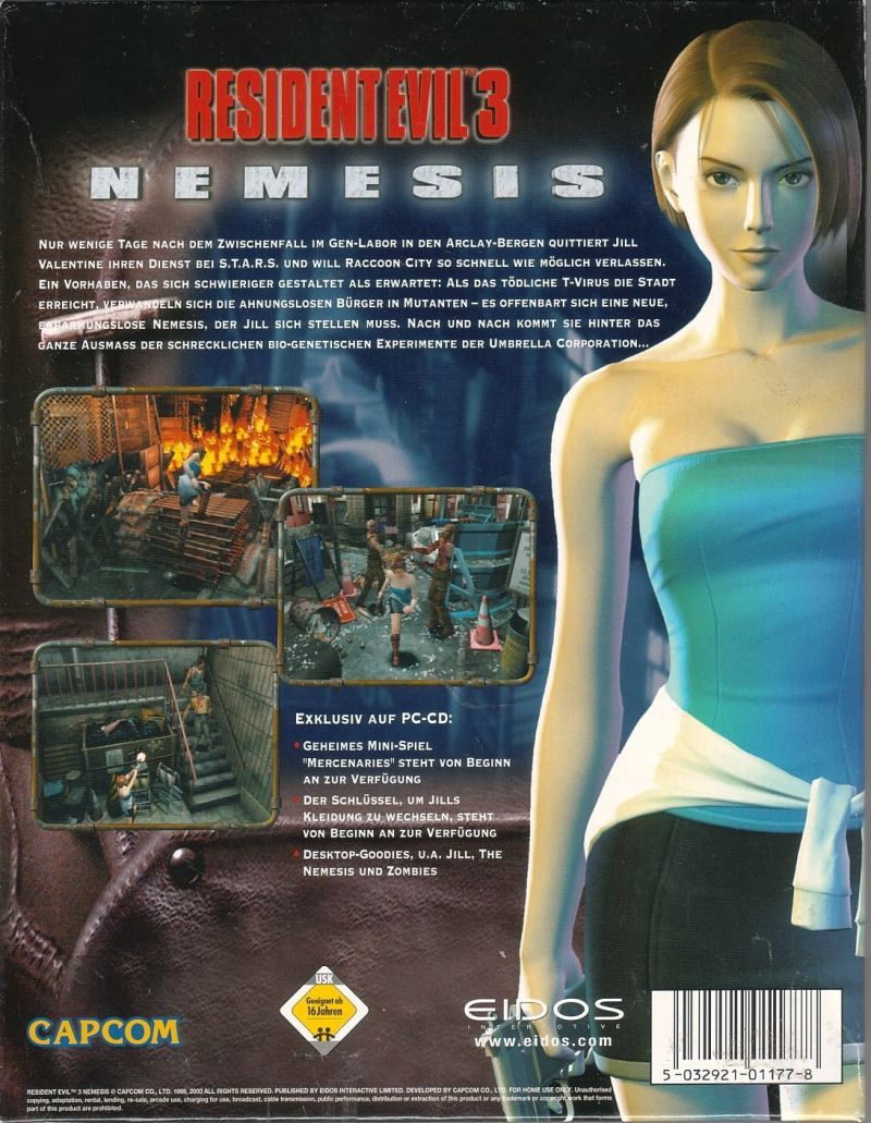 Resident Evil 3: Nemesis Windows Back Cover