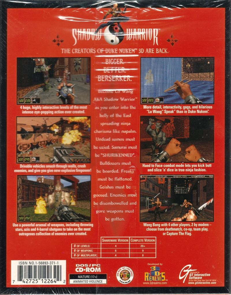 Shadow Warrior DOS Back Cover