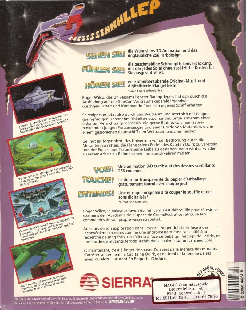 Space Quest V: The Next Mutation DOS Back Cover