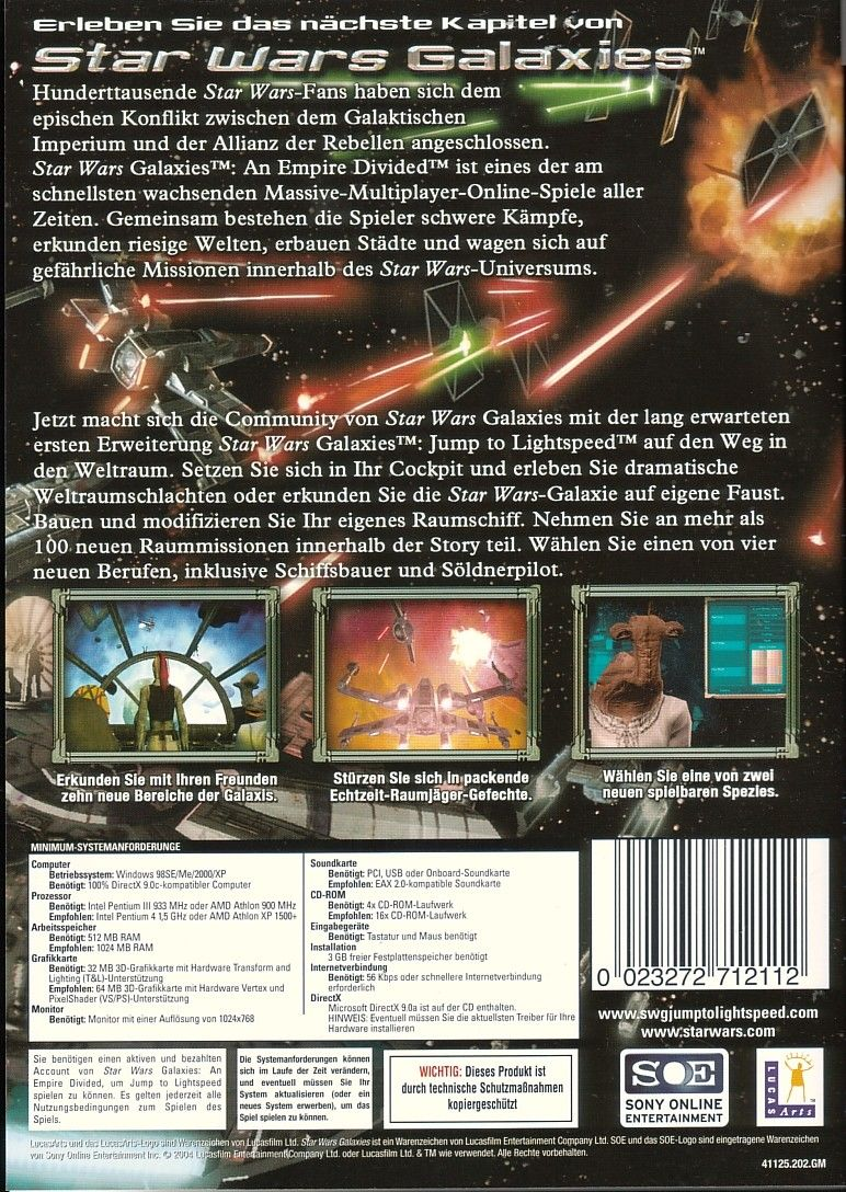 Star Wars: Galaxies - Jump to Lightspeed Windows Back Cover