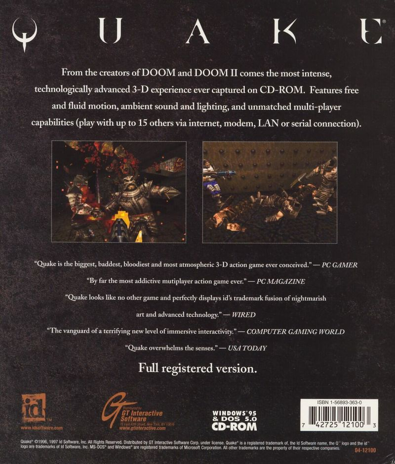 Quake DOS Back Cover