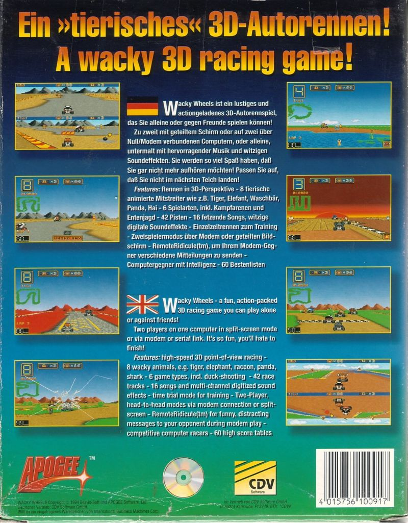 Wacky Wheels DOS Back Cover