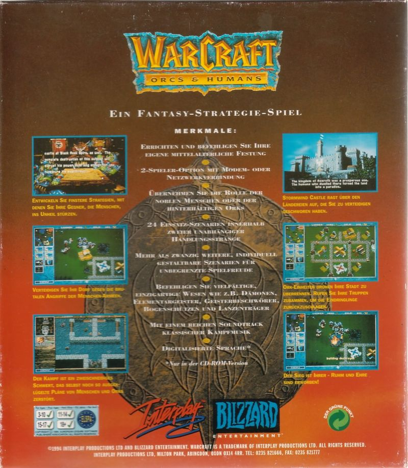 WarCraft: Orcs & Humans DOS Back Cover